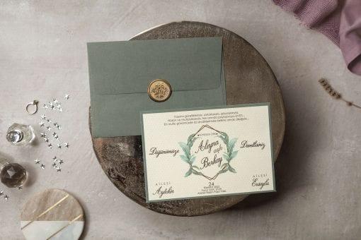 Faire Part Mariage Champêtre Vert Olive