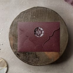 Faire Part Mariage PVC Pochette Bordeaux