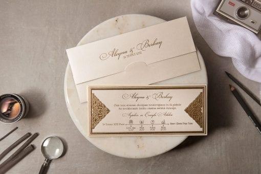 Faire Part Mariage Plaquette Dorée Avec Enveloppe