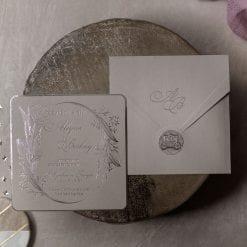 Faire Part Mariage Silver Enveloppe Grise