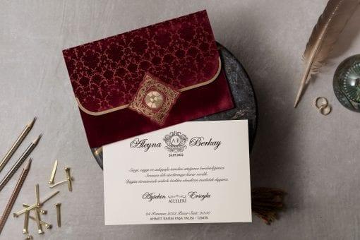 Faire Part Mariage Velours Bordeaux Finition Dorée