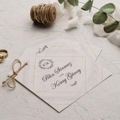 Faire Part Mariage 2 Cartes Avec Ficelle