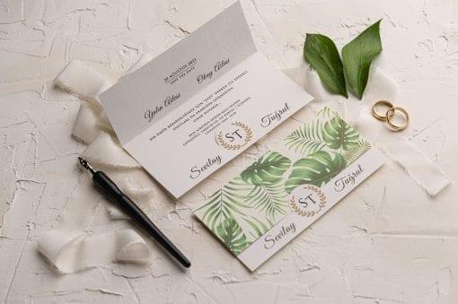 Faire Part Mariage 2 Volets Feuillages Verts