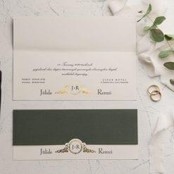 Faire Part Mariage 2 Volets Vert Foncé