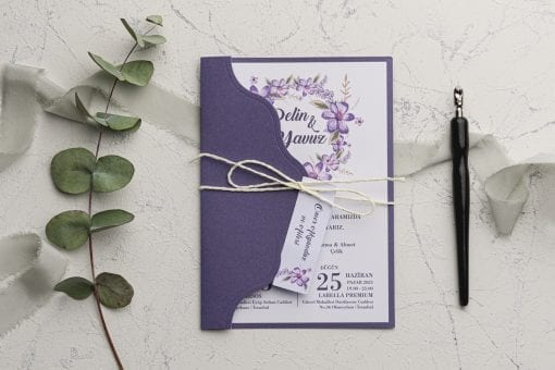 Faire Part Mariage Arc Floral Couleur Lavande
