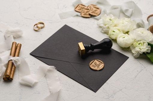 Faire Part Mariage Avec Seau Enveloppe Noire