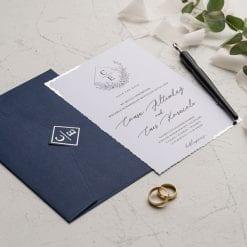 Faire Part Mariage Bleu Marine Avec Initiales