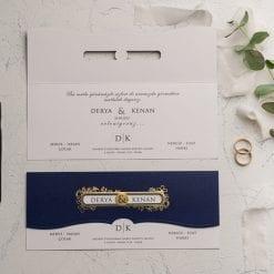 Faire Part Mariage Bleu Marine Finition Dorée