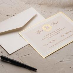 Faire Part Mariage Contour Doré Avec Enveloppe