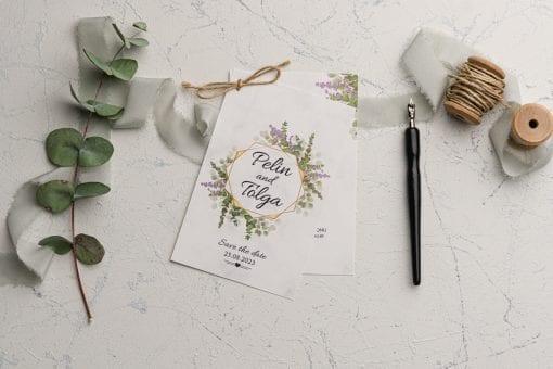 Faire Part Mariage En 2 Parties Arc Floral