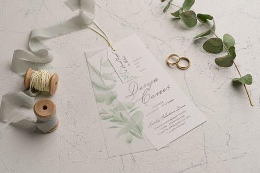 Faire Part Mariage Feuille De Calque Vert Lichen