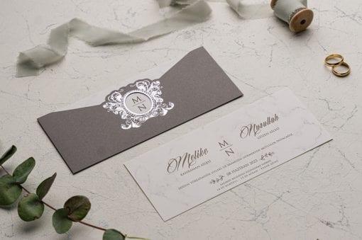 Faire Part Mariage Gris Motif Luxe Silver