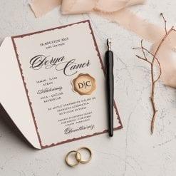 Faire Part Mariage Marron Ouverture Latérale Gauche