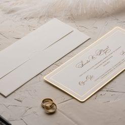 Faire Part Mariage Rectangulaire Contour doré