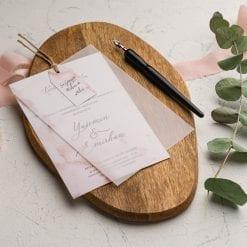 Faire Part Mariage Rose Avec Feuille Calque