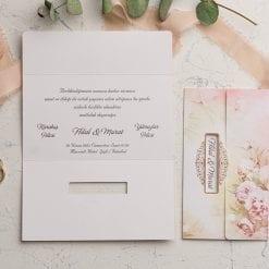 Faire Part Mariage 3 Volets Floral Rose