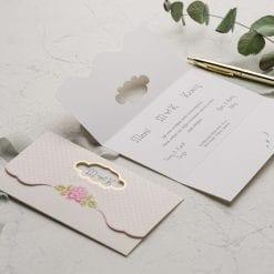 Faire Part Mariage 3 Volets Pointillé Rose
