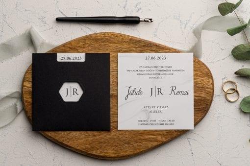 Faire Part Mariage Enveloppe Noir Ouverture Hexagone