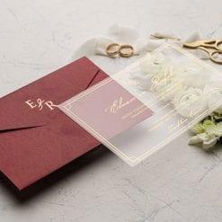 Faire Part Mariage Transparent Enveloppe Bordeaux